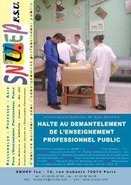 HALTE AU DEMANTELEMENT DE L'ENSEIGNEMENT ... - Le Snuep