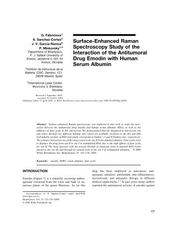 Surface-Enhanced Raman Spectroscopy Study of the Interaction of ...