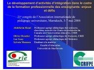 enjeux - Centre de recherche sur l'intervention éducative (CRIE)