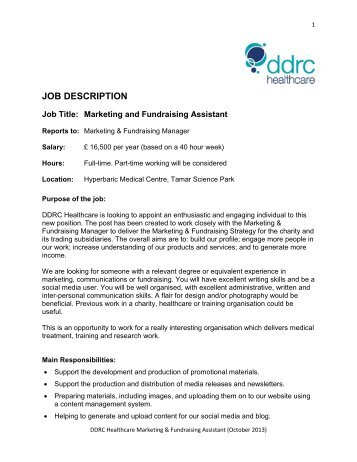 Job Description/Person Specification: Trainee Marketing Officer