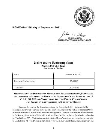 United States Bankruptcy Court - Western District of Texas