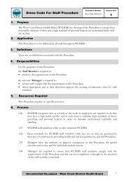 Dress Code For Staff Procedure - West Coast District Health Board
