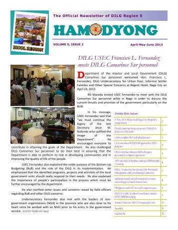 Hamodyong April-May-June 2013 - DILG Regional Office No. 5