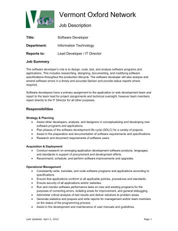"Description €"" System Administrator - Vermont Oxford Network"