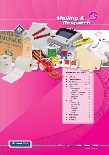 mailing & despatch section - PowerPak Packaging Supplies