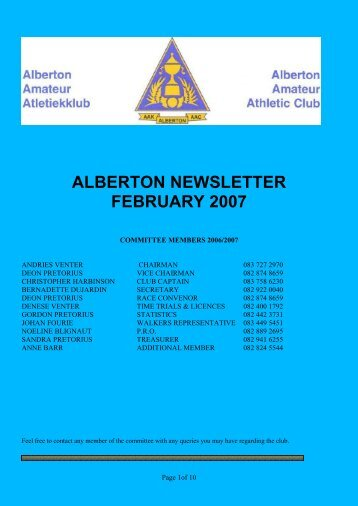 NEWSLETTER 200702 February - Alberton Athletic Club