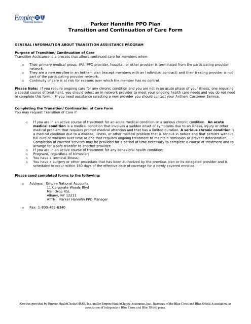 Continuity of Care Form - Empire Blue Cross Blue Shield