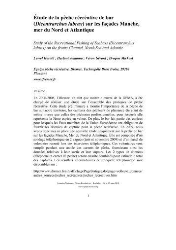 Étude de la pêche récréative de bar (Dicentrarchus ... - SympoScience