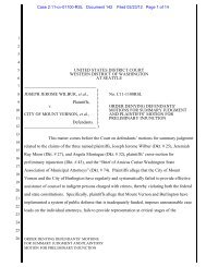 order denying defendants' motions for summary judgment and ...