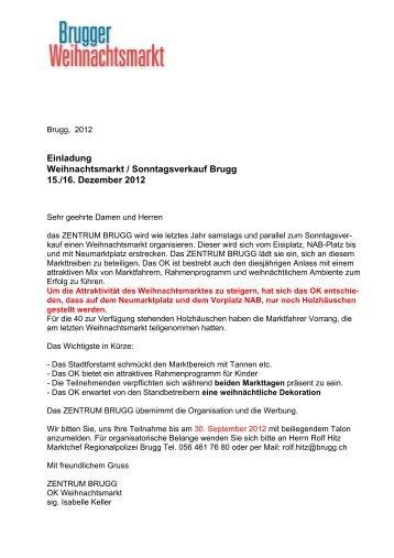 Einladung Weihnachtsmarkt / Sonntagsverkauf Brugg 15./16 ...