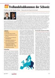 Freihandelsabkommen der Schweiz - Swiss German Club