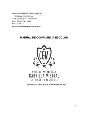 Manual de Convivencia - Colegio Particular Gabriela Mistral