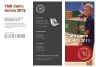 Flyer und Anmeldeformular Camp Aurich - TMS Tischtennis