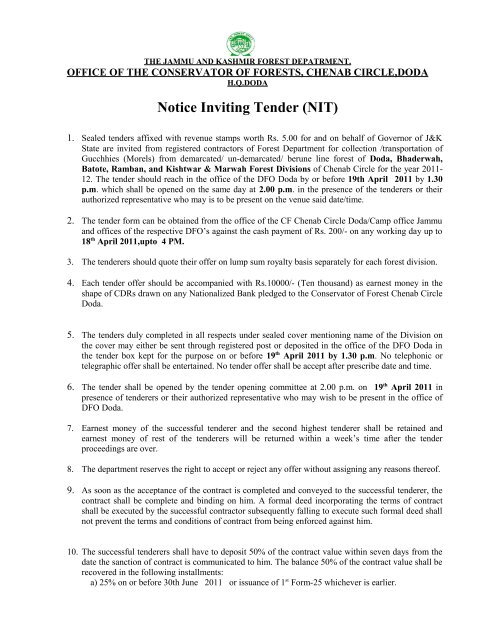 Notice Inviting Tender (NIT) - the official website of j&k