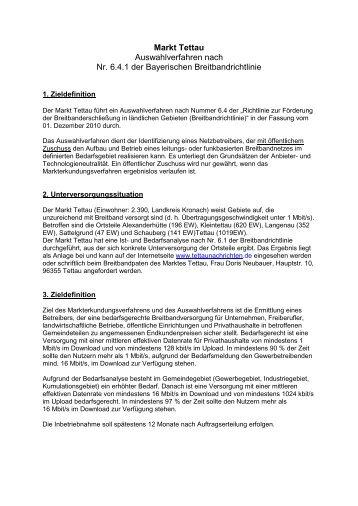 Markt Tettau Auswahlverfahren nach Nr. 6.4.1 der Bayerischen ...