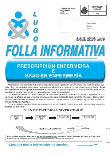 grao en enfermería - Colegio Oficial de Enfermeria de Lugo