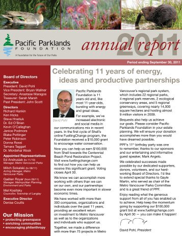 PPF Annual Report 2011 - Pacific Parklands Foundation