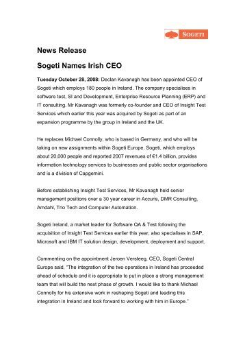 News Release Sogeti Names Irish CEO