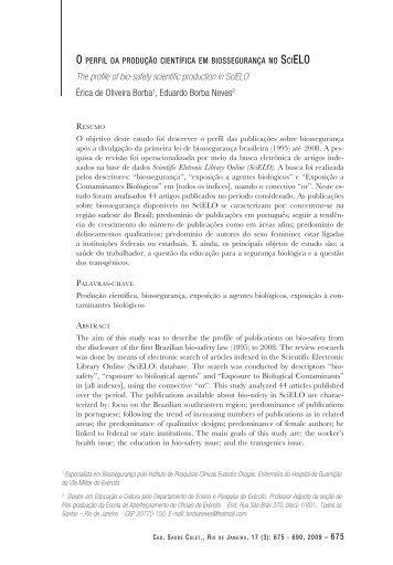 O Perfil da produção científica em Biossegurança no ... - IESC/UFRJ
