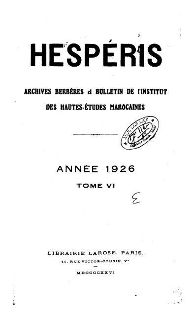 ANNEE 1926 - Bibliothèque Nationale du Royaume du Maroc