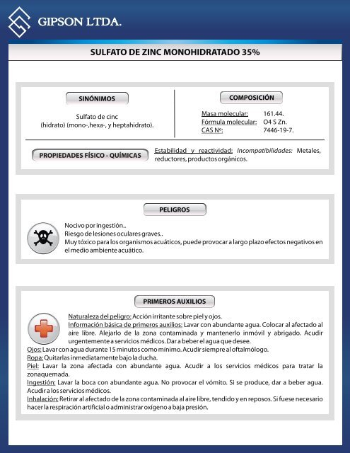 Propiedades fisico quimicas del sulfato de zinc