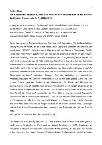 die europäischen Reisen des Kasseler Architekten Simon-Louis Du ...