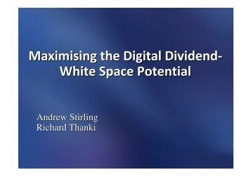 Maximising the Digital Dividend- W hite Space ... - Analysys Mason