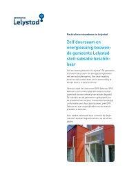 Folder Subsidieregeling Duurzaam Bouwen - Gemeente Lelystad
