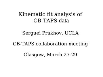 Kinematic fit analysis of CB-TAPS data - A2 Mainz