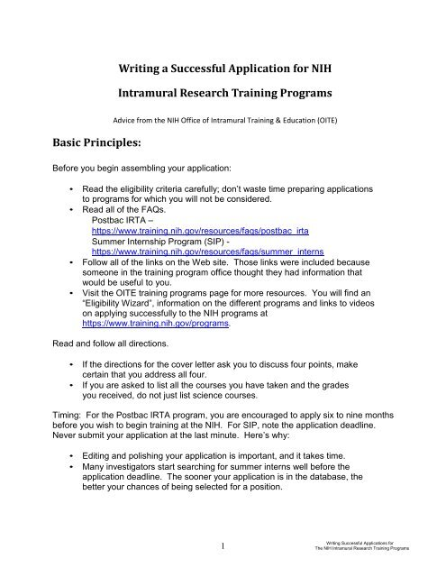 Nih Sip Cover Letter Writing A Successful Application For Intramural Research