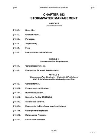 CHAPTER 153 STORMWATER MANAGEMENT - Whitehall Borough