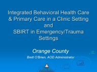 Integrated Behavioral Health Care & Primary Care in a Clinic ...