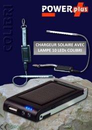 CHARGEUR SOLAIRE AVEC LAMPE 10 LEDs COLIBRI - Eqwergy