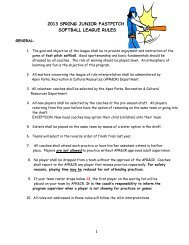 1 2013 SPRING JUNIOR FASTPITCH SOFTBALL LEAGUE RULES