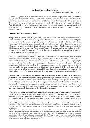 Le deuxième stade de la crise Dominique Taddéi – Octobre 2011