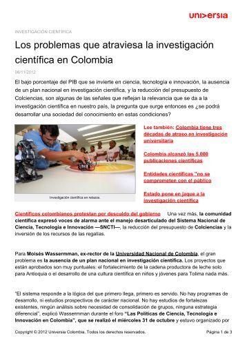 Los problemas que atraviesa la investigación científica en Colombia