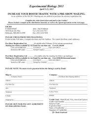 Mail List Order Form - Experimental Biology