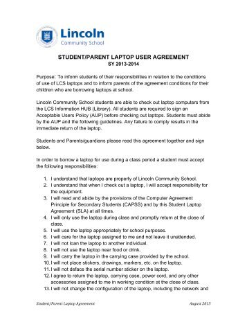 student/parent laptop user agreement - Lincoln Community School