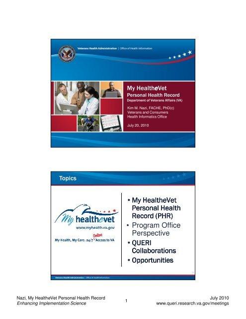 My HealtheVet Personal Health Record - QUERI