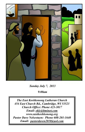 Sunday July 7, 2013 - Eastkoshkonong.org