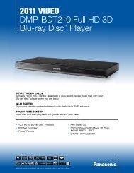 2011 VIDEO DMP-BDT210 Full HD 3D Blu-ray Disc™ Player - Sears