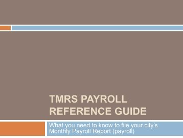 TMRS Payroll Reference Guide