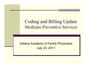 Coding and Billing Update - Medicare Preventive Services - Indiana ...