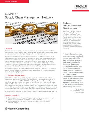 SCMnet 4.1 Supply Chain Management Network - Hitachi Consulting