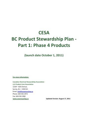 CESA BC Product Stewardship Plan - Part 1: Phase 4 Products