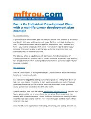 Individual Development Plan - Management for the Rest of Us