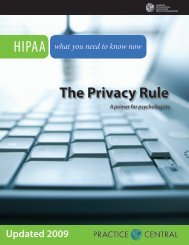The Privacy Rule - APA Practice Organization