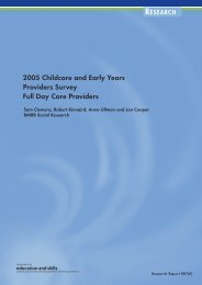 2005 Childcare and Early Years Providers Survey Full Day Care ...