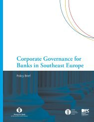 Corporate Governance for Banks in Southeast Europe: Policy - IFC