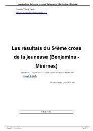 Les résultats du 54ème cross de la jeunesse ... - Ville de Calais